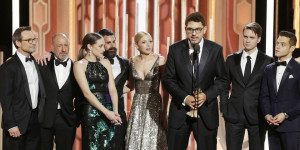 "BEVERLY HILLS, CA - JANUARY 10: In this handout photo provided by NBCUniversal, Sam Esmail accepts the award for Best TV Series, Drama for ""Mr. Robot"" during the 73rd Annual Golden Globe Awards at The Beverly Hilton Hotel on January 10, 2016 in Beverly Hills, California. (Photo by Paul Drinkwater/NBCUniversal via Getty Images)"